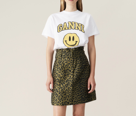 Ganni High Waisted Mini Skirt - Olive Leopard