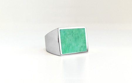 Unisex Legier Amazonite Stone Signet Ring