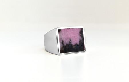 Unisex Legier Rhodonite Stone Signet Ring