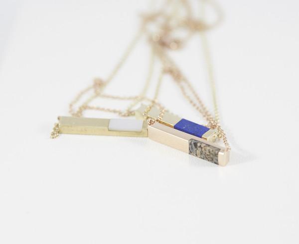 Legier Stone Signet Bar Pendant Necklace