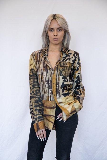 Pierre Louis Mascia Silk Printed Button Down shirt - Gold