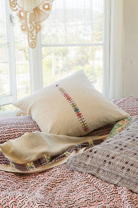 Erica Tanov Euro Sham Pillow - Embroidered Natural Linen