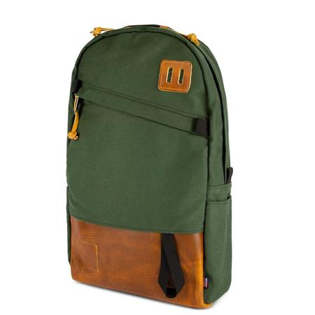 Topo Designs Heritage Canvas Daypack - OLIVE CANVAS/BROWN LEATHER