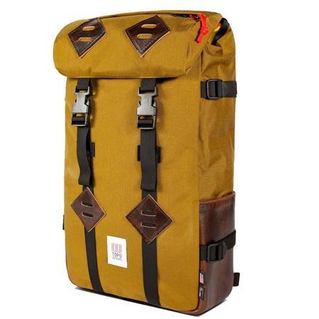 Topo Designs Klettersack Heritage Canvas bag - DARK KHAKI CANVAS/DARK BROWN LEATHER