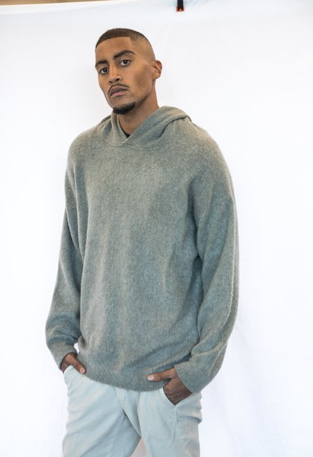 Alba Massimo Hooded Soft Cashmere Pilled Effect Pullover