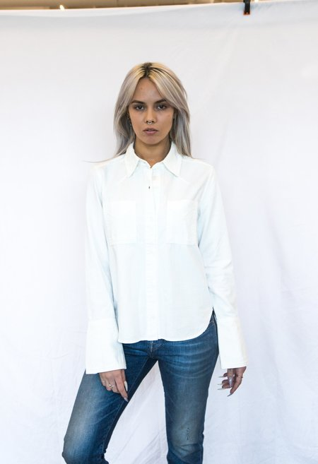 Trave Denim Blouse - White