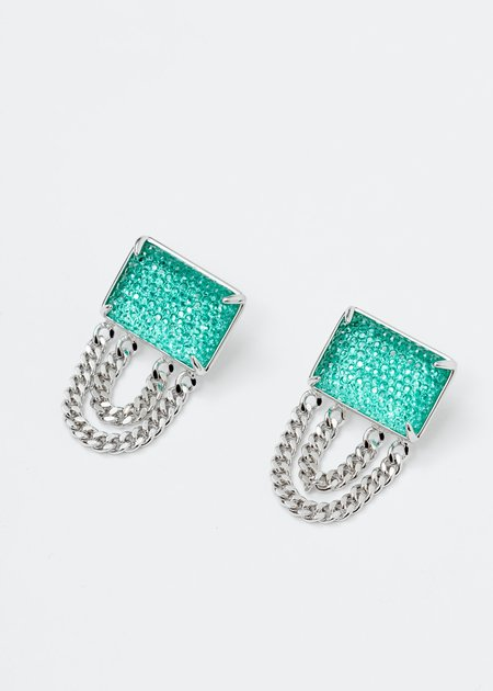 DEPARTMENT Jeweled Earring - White Gold/Green