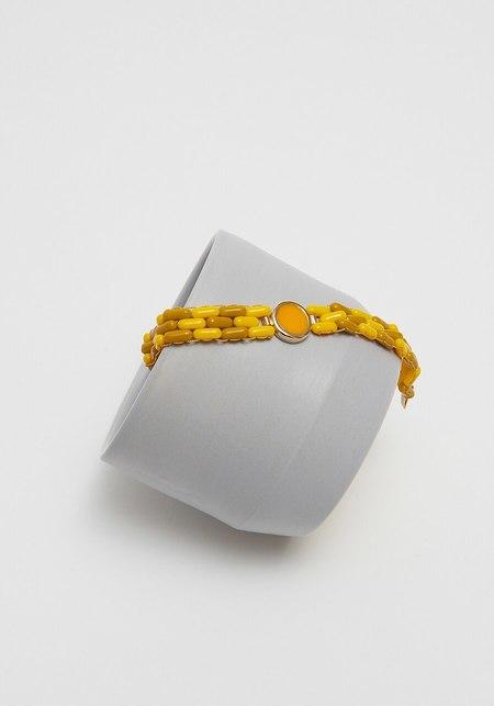 A. Carnevale Glass Bead Bracelet - Yellow