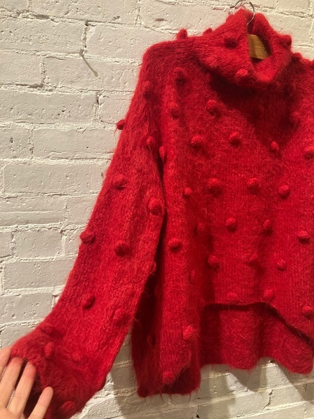 Matthildur Pom poms Turtleneck Sweater - Red