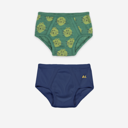 KIDS Bobo Choses B.C. & All Over Cat Print Underwear Set - Blue/Green