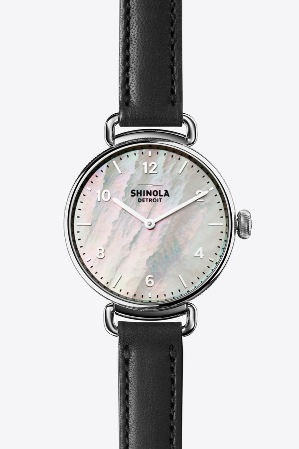 Shinola The Canfield 32mm Watch in Mother of Pearl/Black