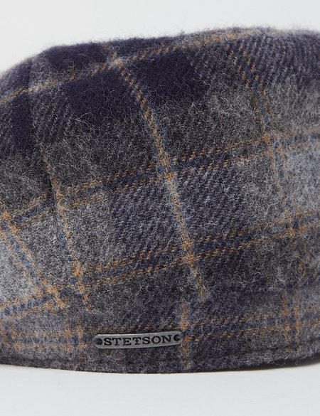 Stetson Hatteras Lambswool Check Flat Cap - Navy Blue