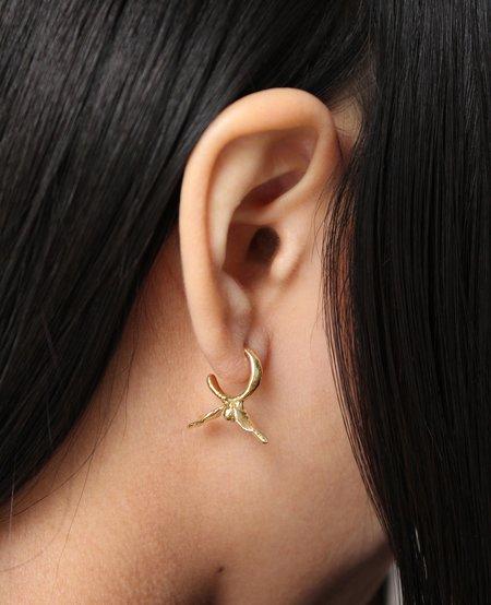 Ora-C BLOOM golden mini hoops - Brass