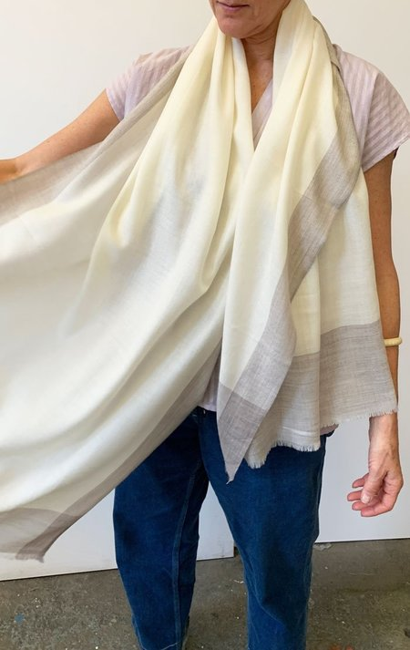 SOURCERY Cream and beige cashmere scarf - cashmere/silk