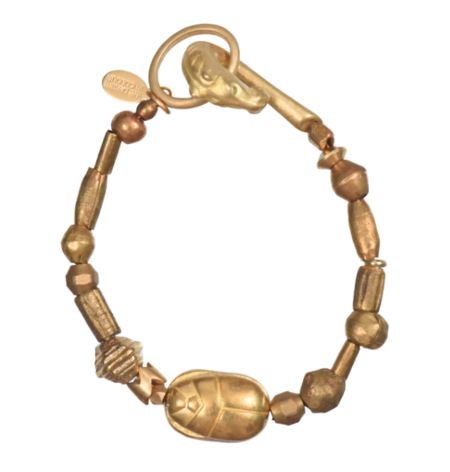 We Dream in Colour Golden Scarab Bracelet - Gold