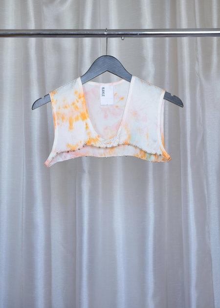 Kahle No.2 PEARL DICKIE top - Orange/white/pink