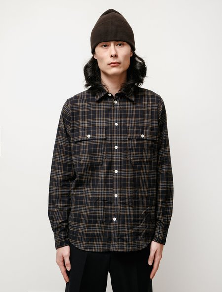 Norse Projects Villads Brushed Flannel Overshirt - Check Navy