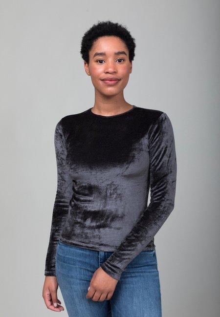 Baserange Omo Long Sleeve Velvet Tee - Charcoal