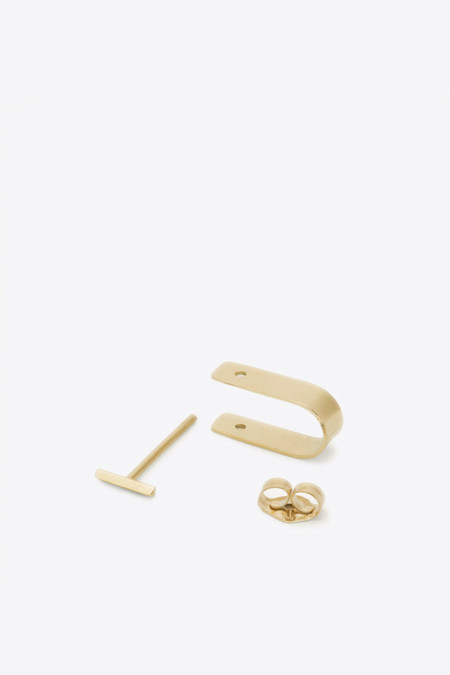 Kathleen Whitaker Bevel Stud and Cuff in Yellow Gold