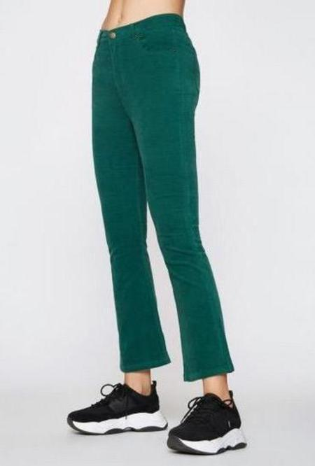 Pam & Gela Crop Slim Flare Cords - Emerald