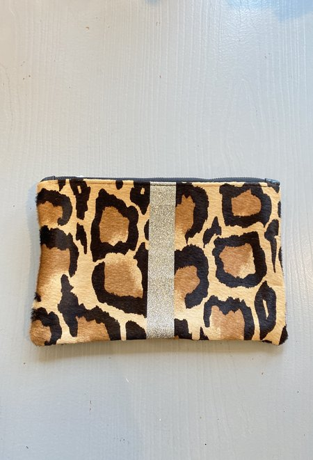 Totem calf hair Pouch with silver glitter stripe - Leopard