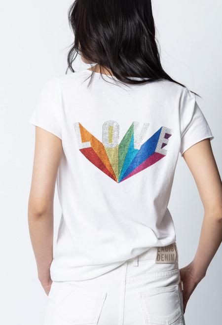 Zadig & Voltaire Love Rainbow Strass Henly Tee - White