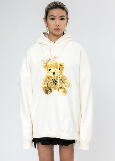 we11done Embroidered Teddy Hoodie - Ivory