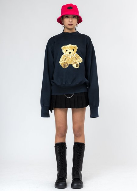 we11done Embroidered Teddy Sweater - Navy
