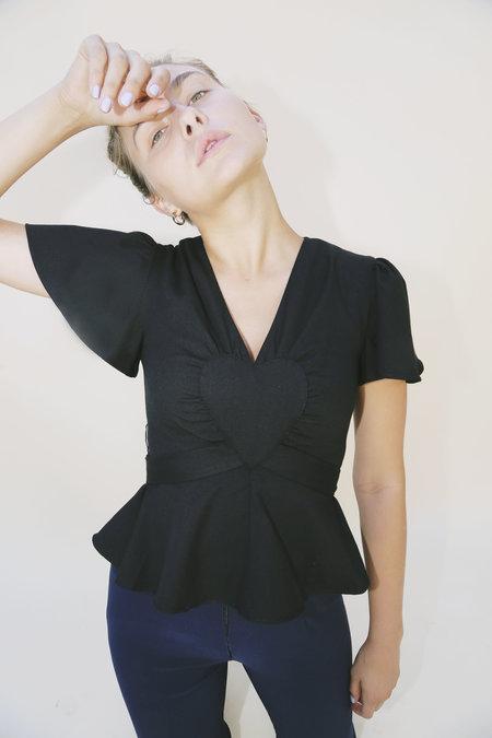 Samantha Pleet Flutter Heart Wrap Top - Black