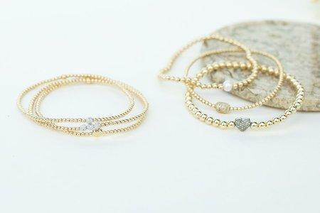 Karen Lazar 2mm with Three 14k Diamond Beads Bracelet