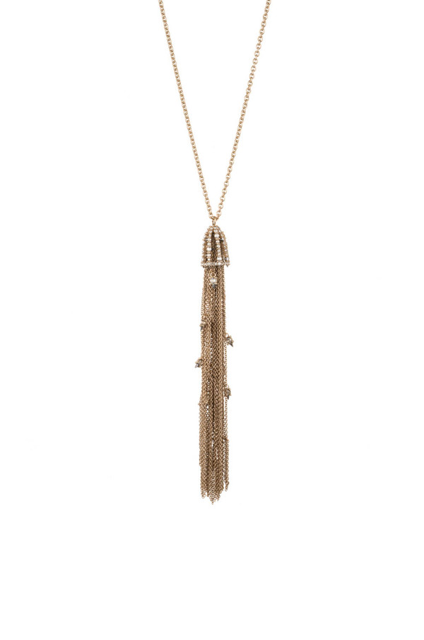 Alexis Bittar Cascading Crystal Tassel Pendant Necklace