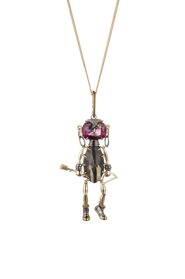 Alexis Bittar Urban Warrior Articulating Figurine Pendant Necklace