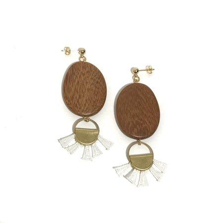 This Ilk Nyala Stud Dangle earrings - Wood/White