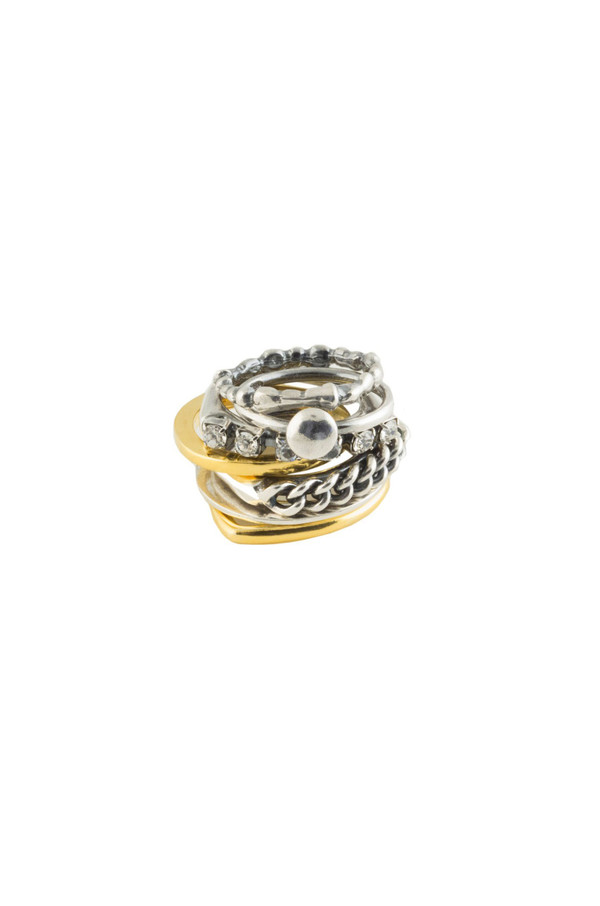 Iosselliani Silver and Gold Stacking Rings