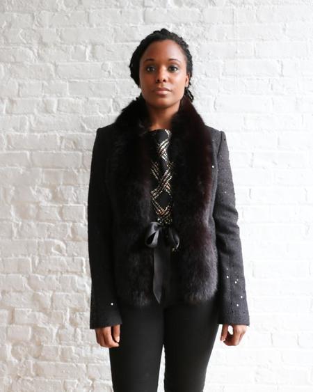 [pre-loved] Juleh Juleh Sequin Fur Trim Jacket - Black