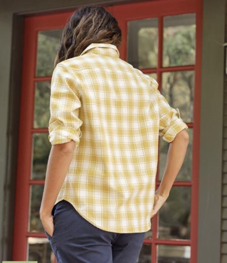 Frank & Eileen Eileen Twill Flannel Shirt - Mustard/White Plaid