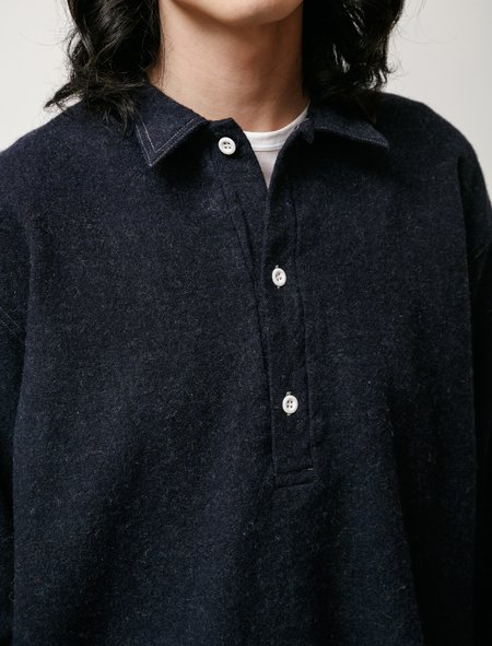 Tender WS412 Pullover Tail Wool Miner's Flannel Shirt - Navy