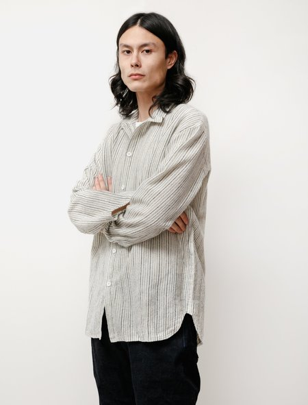 Tender WS420 Tail Wool Shawl Stripe Flannel Shirt - Cream/Blue