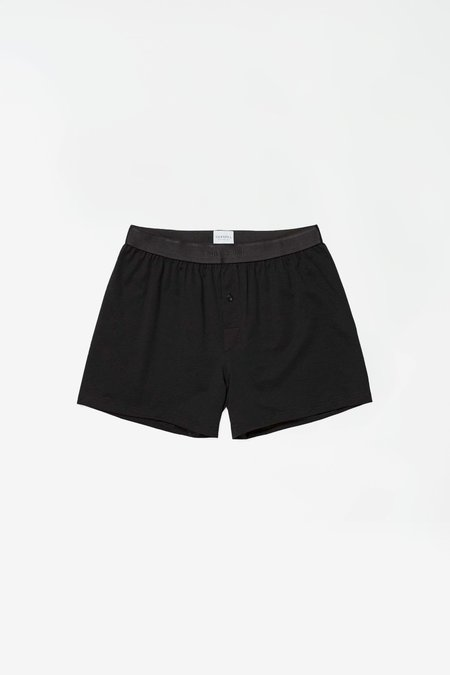 Sunspel Superfine Cotton 1 Button Short - Black