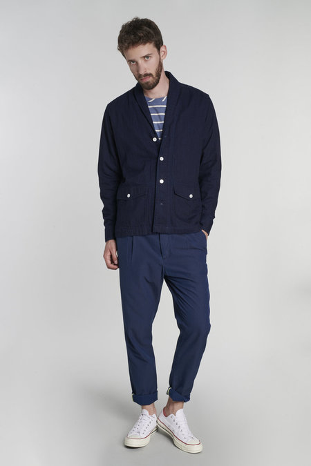 Delikatessen Japanese Double Layered Denim with a Round Collar Jacket