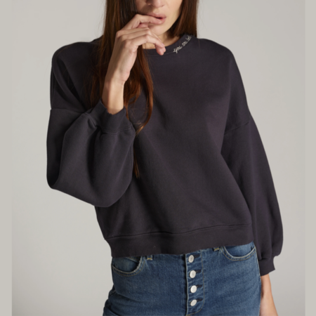 Amo Denim Easy Sweatshirt W/ Embroidery - Faded Black
