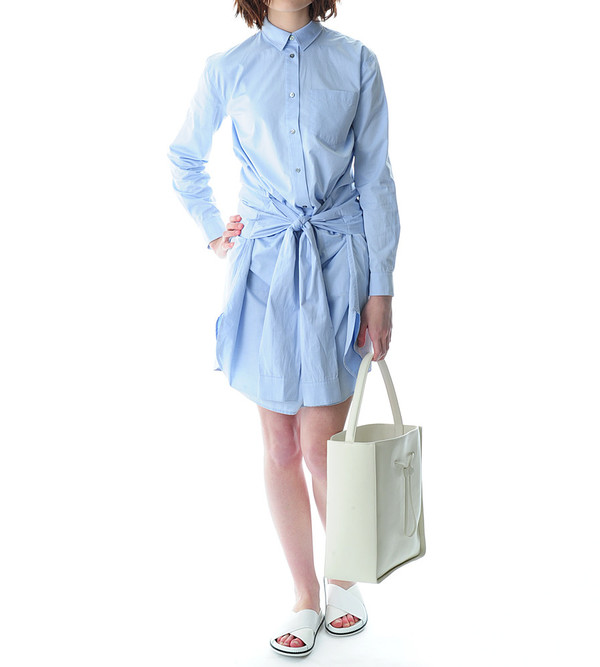 T By Alexander Wang Blue Cotton Poplin Shirt Dress