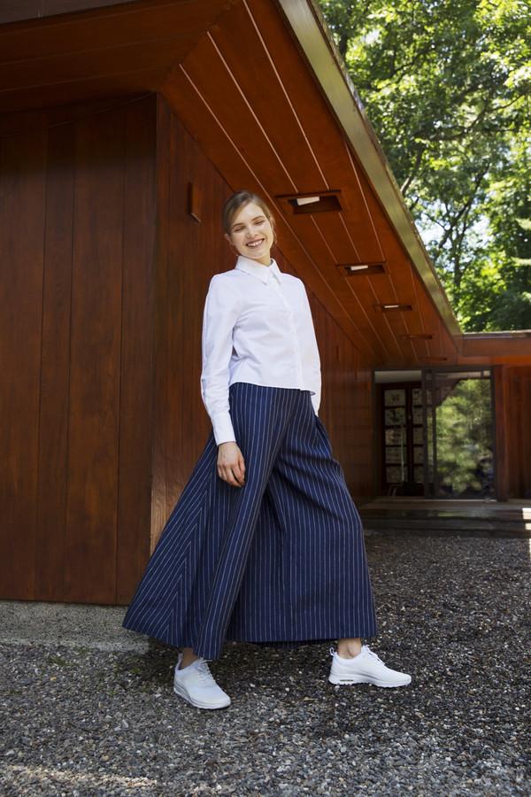 UNIFORME Caro Palazzo Pants - Holland & Sherry Indigo Stripe Linen
