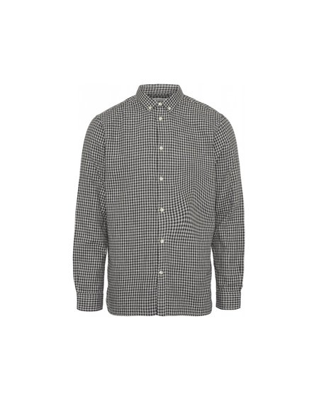 knowledge cotton apparel Camisa Larch Double Layer - Dark Grey Melange
