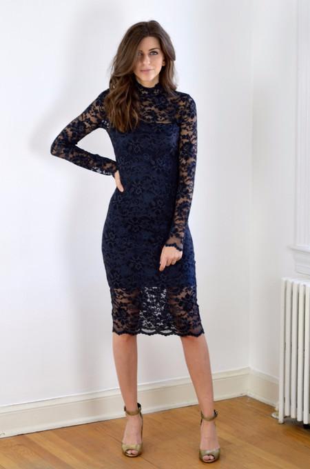 Ganni Flynn Lace Dress - Ebony/Black