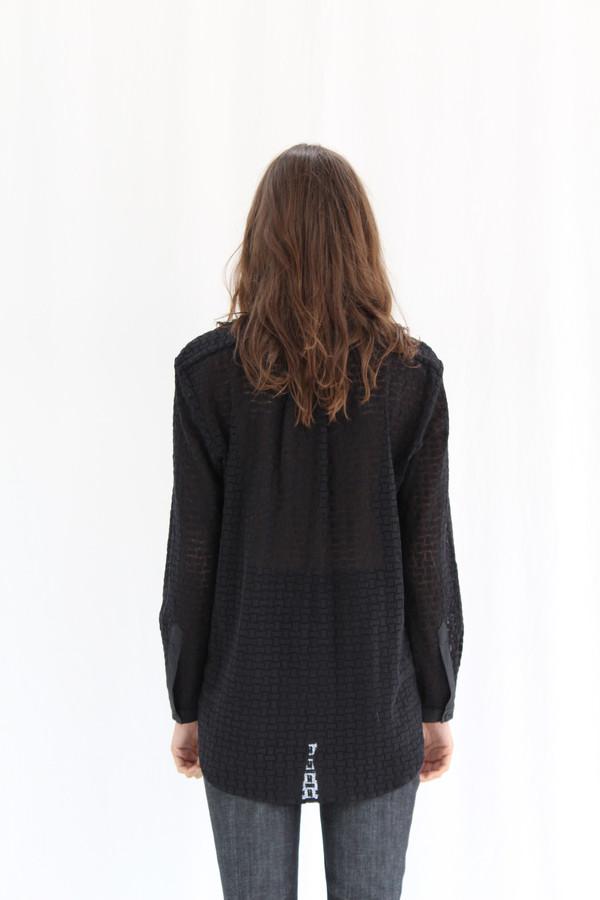 Apiece Apart Augustina Button Up Shirt Black Lace