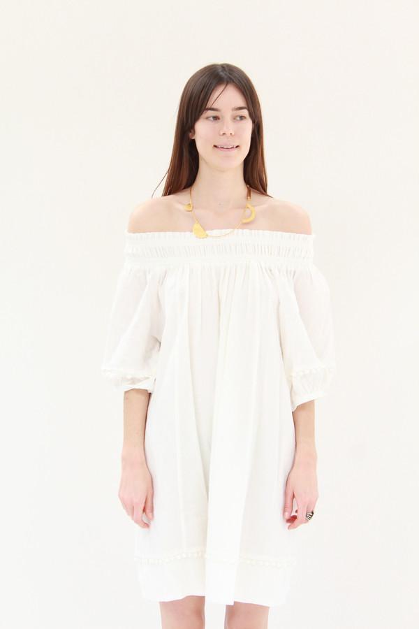 Apiece Apart Felina Off-The-Shoulder Dress Cream