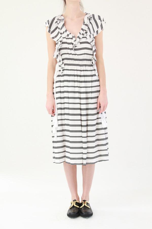 Apiece Apart San Rafael Midi Ruffle Dress Triple Stripe
