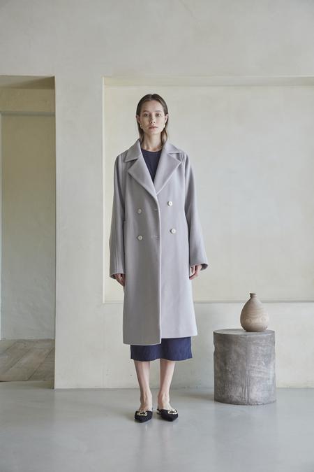 Maison De Ines OVERFIT DOUBLE BUTTON WOOL COAT - Gray