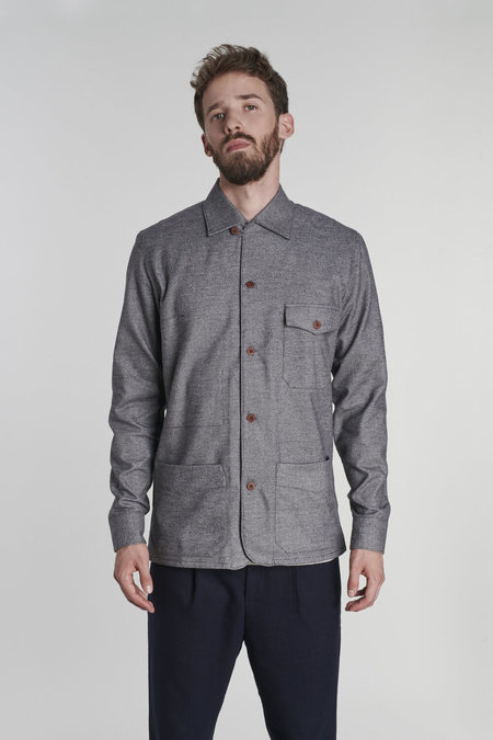 SS20 Overshirt in Fine Portuguese Cotton Flannel - Grey